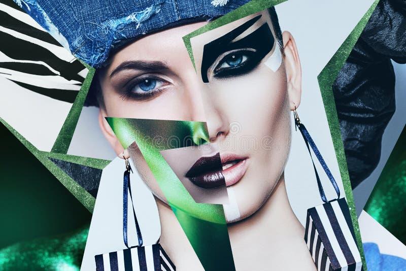 Retrato da mulher no chapéu da sarja de Nimes e na luz verde foto de stock royalty free