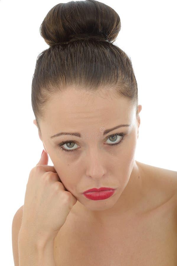 Retrato da mulher nova deprimida infeliz muito triste P de A Caucasain imagem de stock