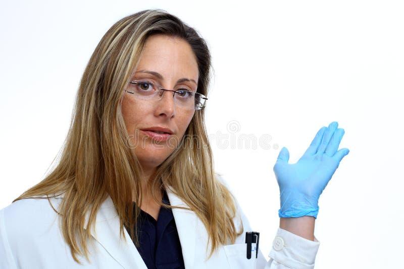 Retrato da mulher nova do doutor foto de stock