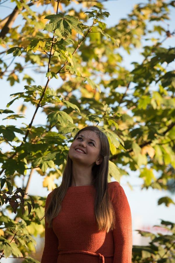 Retrato da mulher nova no parque fotos de stock