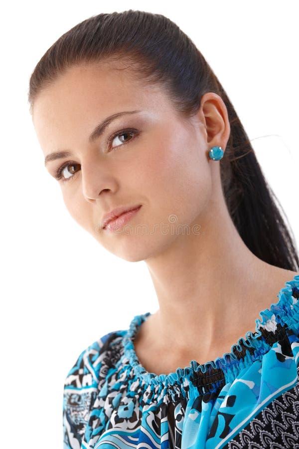 Retrato da mulher nova séria fotos de stock royalty free