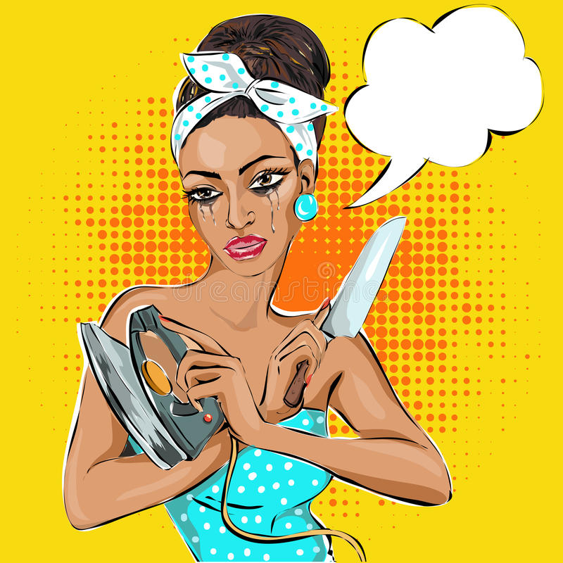 Retrato da mulher Pin-acima com faca e ferro ilustração royalty free