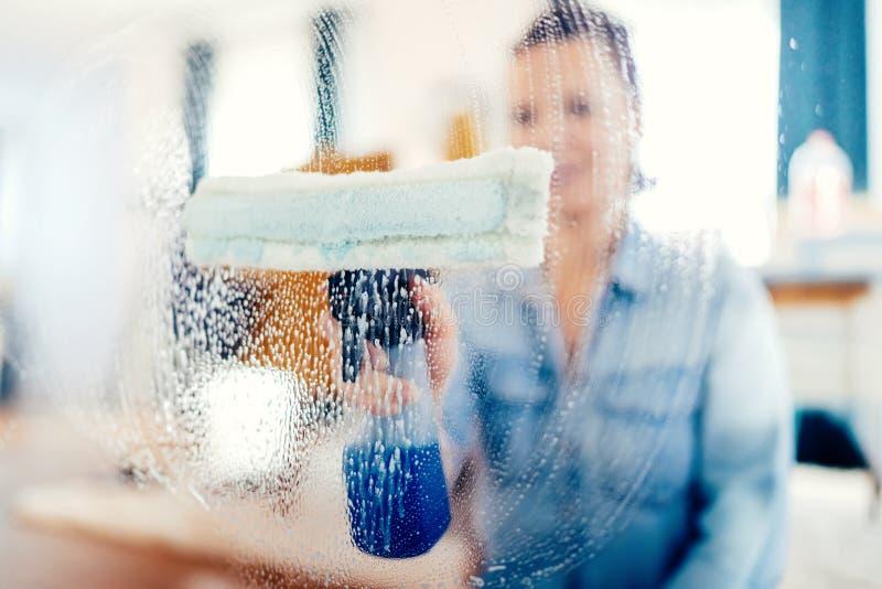 Retrato da mulher que faz trabalhos das tarefas domésticas Jovem mulher que usa o líquido de limpeza de janela e fazendo tarefas  fotos de stock