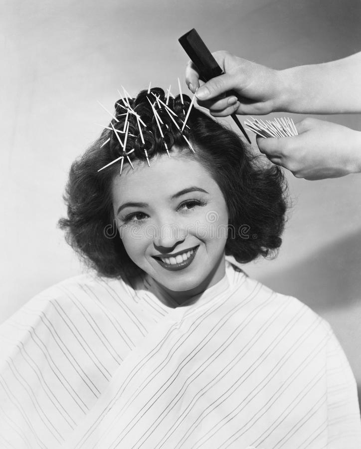 Retrato da mulher que tem o cabelo denominado imagens de stock royalty free