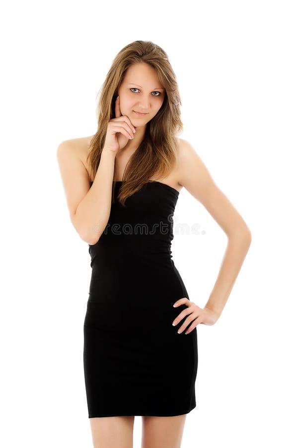 Retrato da mulher 'sexy' no vestido elegante fotos de stock