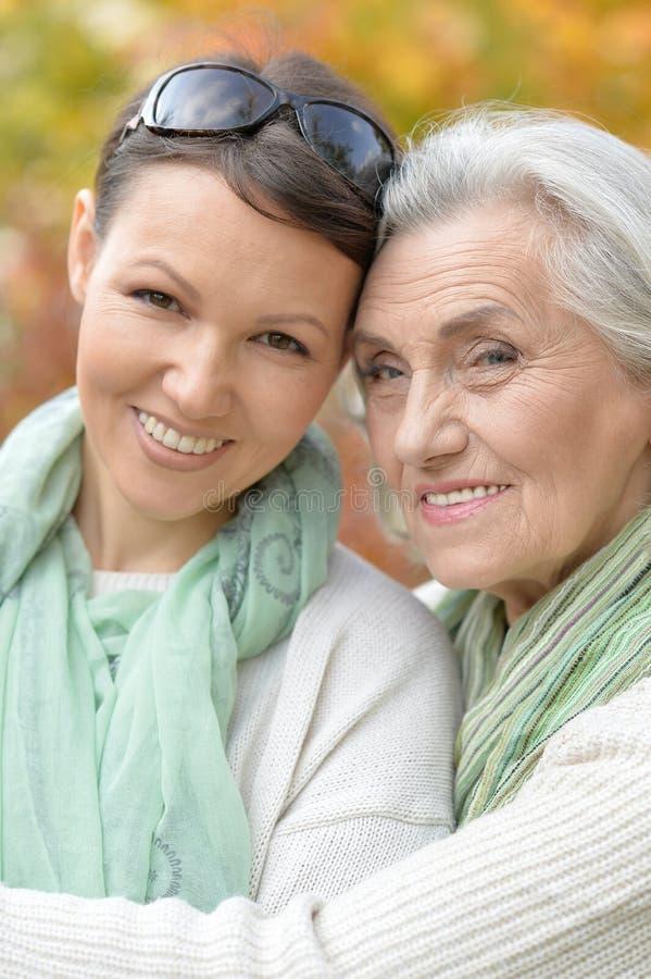 Retrato da mulher superior de sorriso com a filha adulta no parque outonal foto de stock