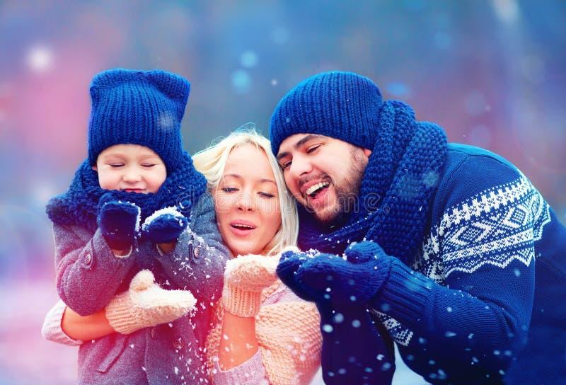 Retrato da neve de sopro do inverno da família feliz foto de stock