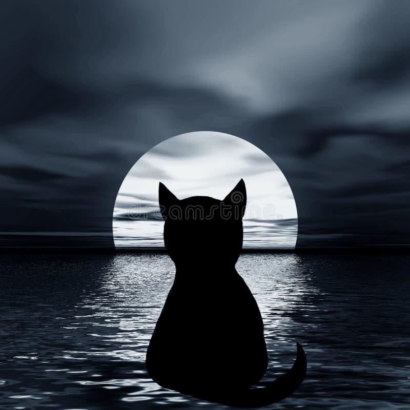 Retrato da noite. Gato e lua ilustração do vetor