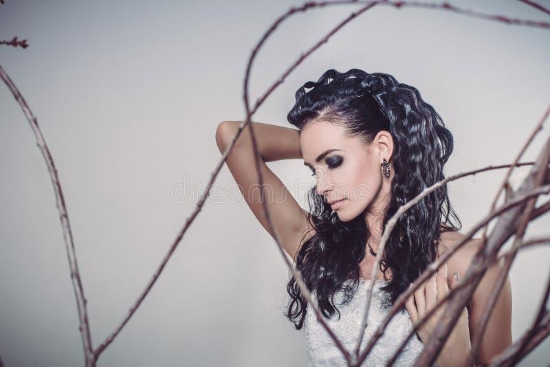 Retrato da noiva moreno 'sexy' da forma nova bonita imagem de stock