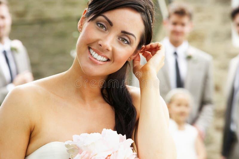 Retrato da noiva no casamento imagem de stock