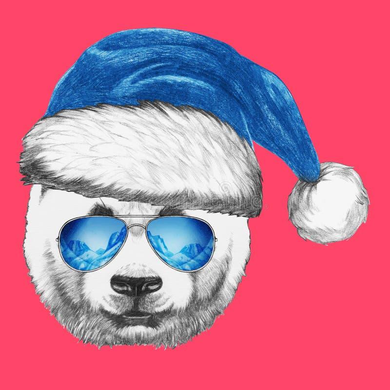 Retrato da panda com Santa Hat e os óculos de sol ilustração stock