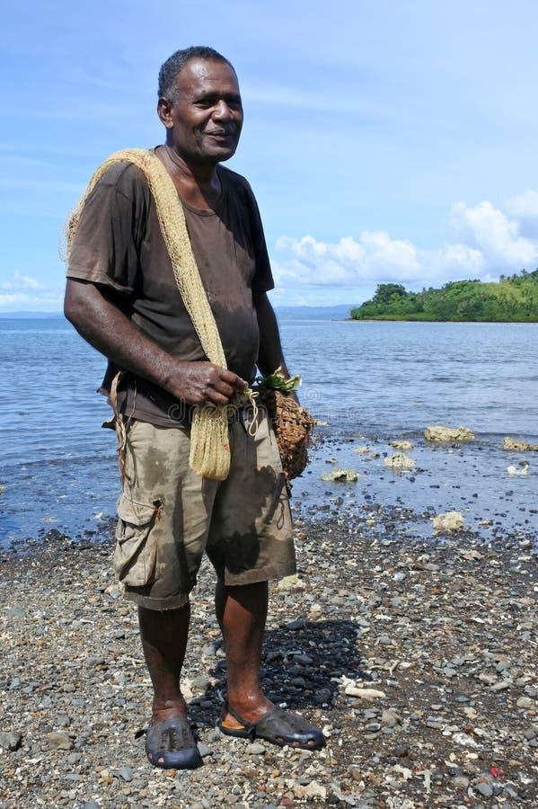 Retrato da pesca indo do pescador nativo do Fijian em Fiji imagens de stock