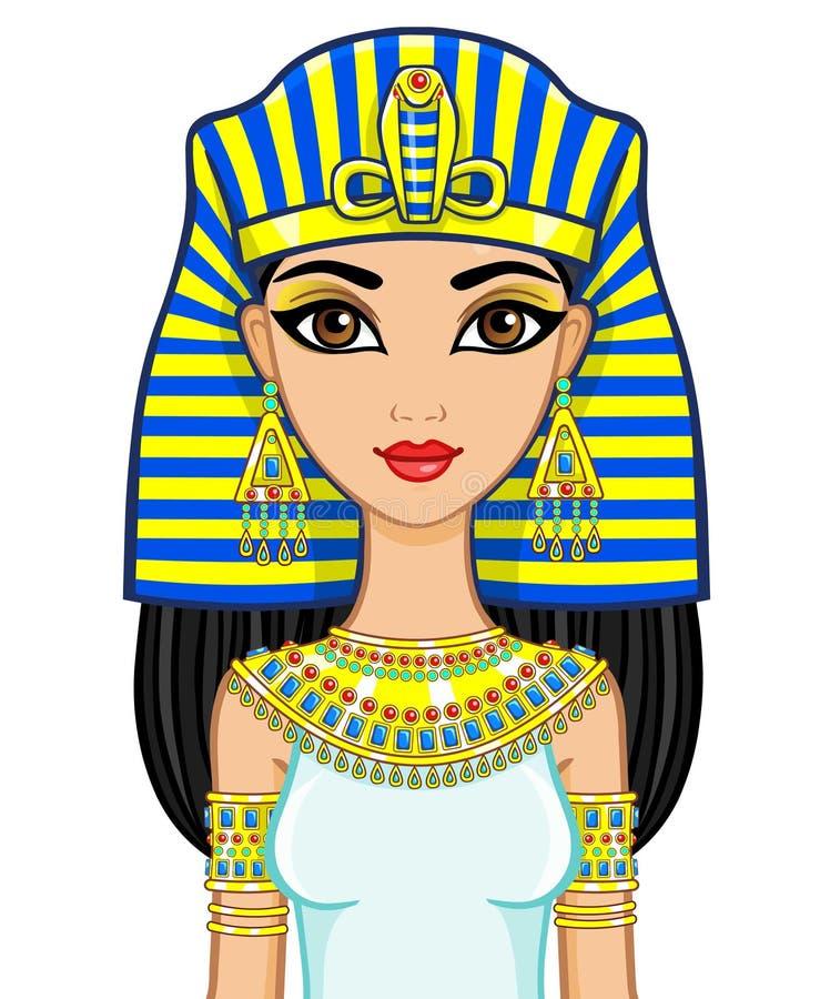 Retrato da princesa egípcia da animação na joia do ouro Rainha Cleopatra ilustração stock