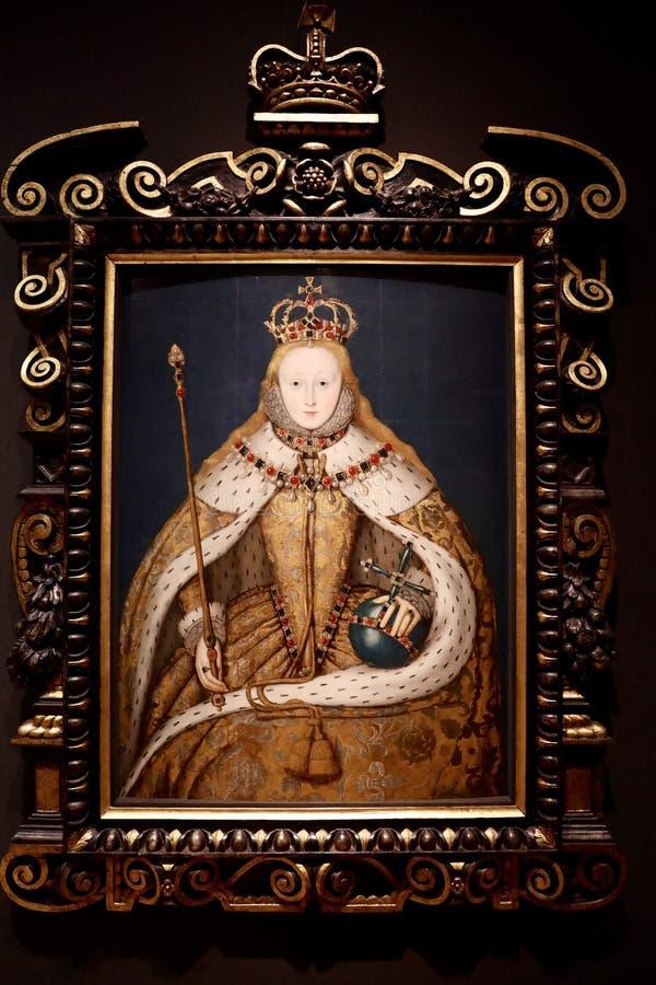 Retrato da rainha Elizabeth I, por um artista inglês do unkown foto de stock royalty free
