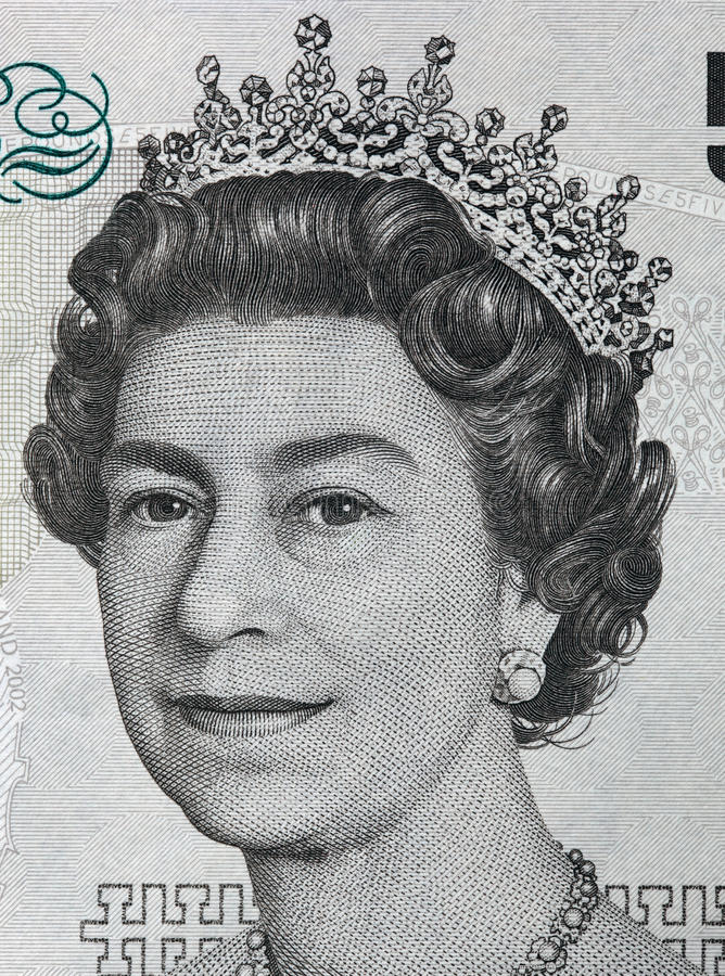 Retrato da rainha Elizabeth II na cédula de libra esterlina 5 imagens de stock