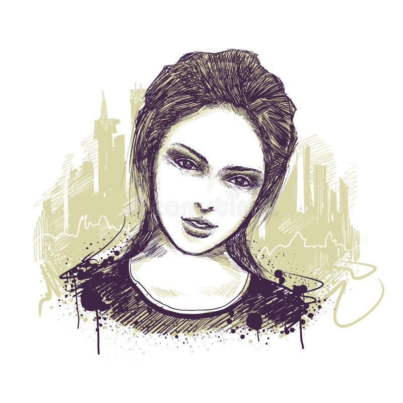 Retrato da rapariga ilustração royalty free
