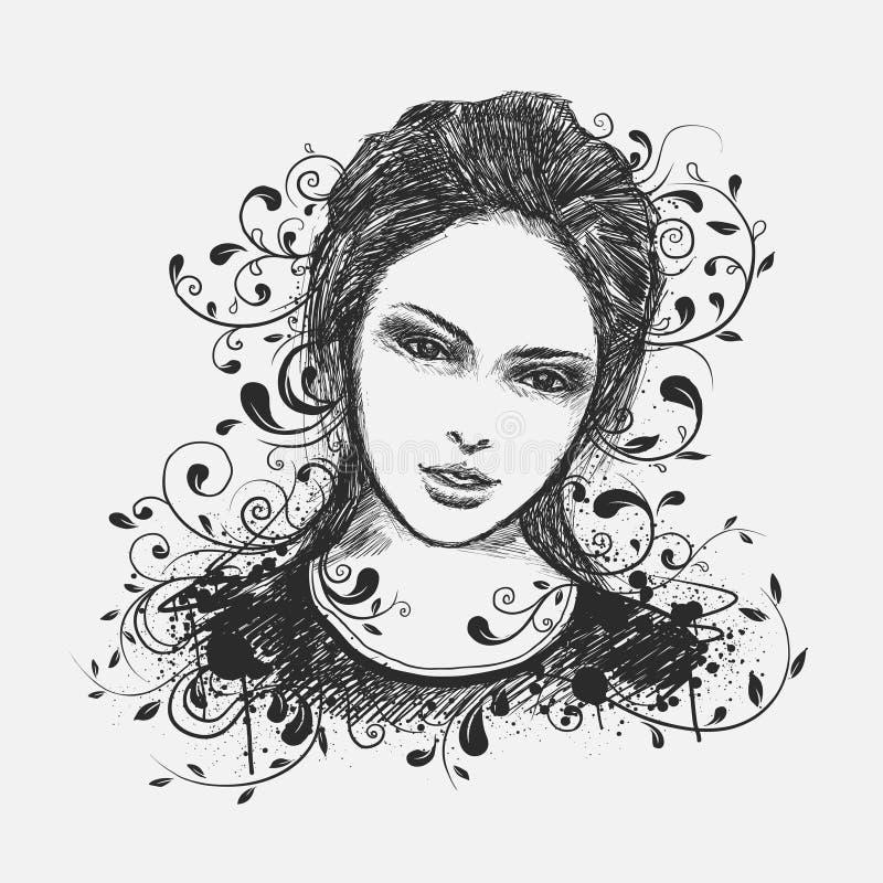 Retrato da rapariga ilustração stock