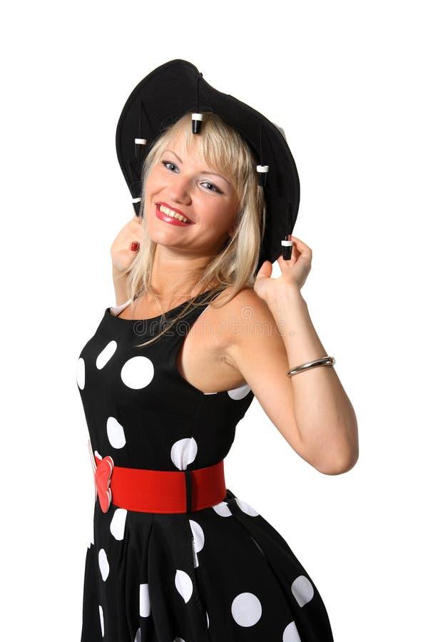 Retrato da rapariga bonita no chapéu negro imagem de stock royalty free