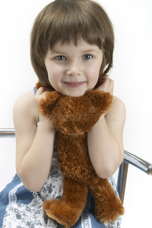 Retrato da rapariga com uma peluche imagem de stock royalty free