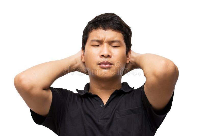 Retrato da sensação asiática e gesto desapontados ou tensão do homem imagem de stock royalty free