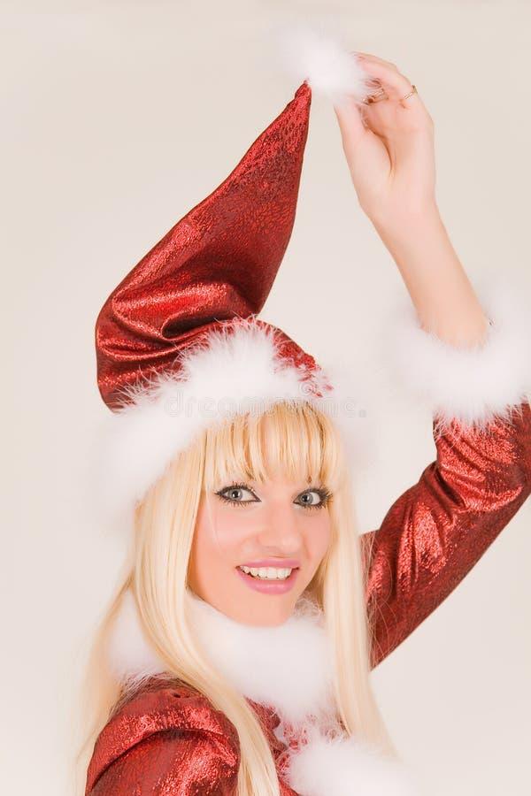 Retrato da Sra. de sorriso Papai Noel imagens de stock