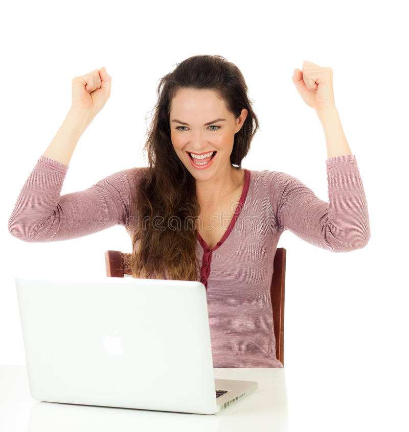 Retrato da utilização fêmea feliz foto de stock