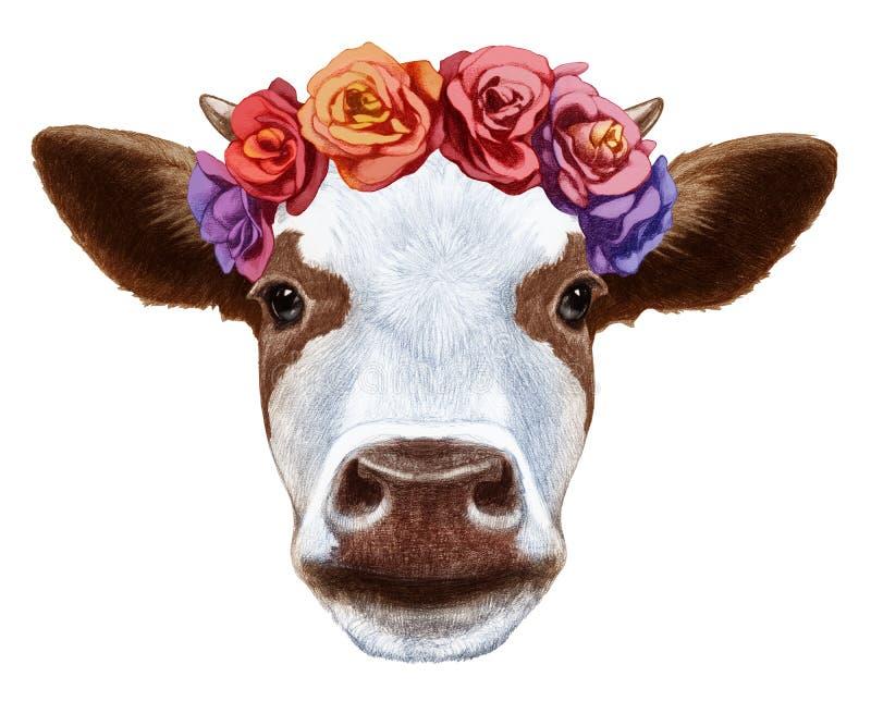 Retrato da vaca com a grinalda principal floral ilustração stock