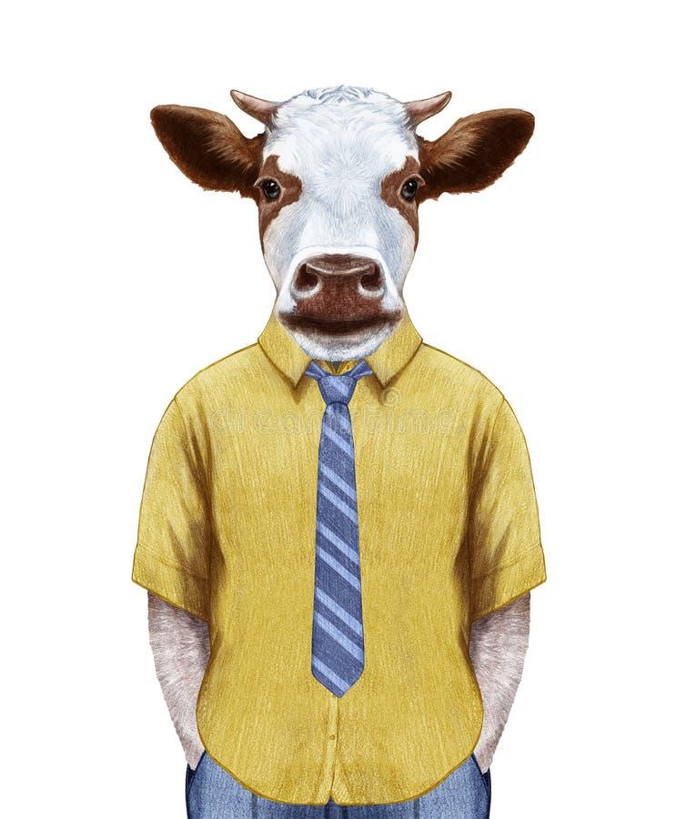 Retrato da vaca na camisa do verão com laço ilustração do vetor