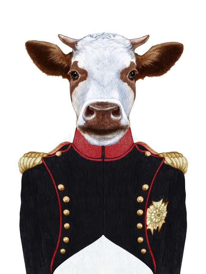 Retrato da vaca no uniforme militar ilustração stock
