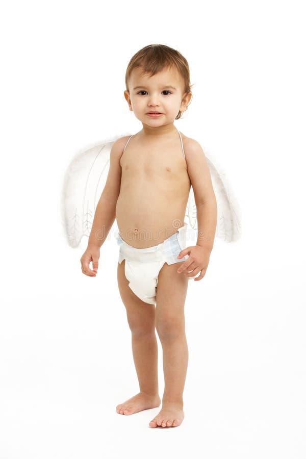 Retrato das asas desgastando do anjo da criança fotos de stock royalty free