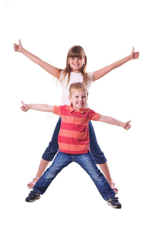 Retrato das crianças isolado no branco fotos de stock