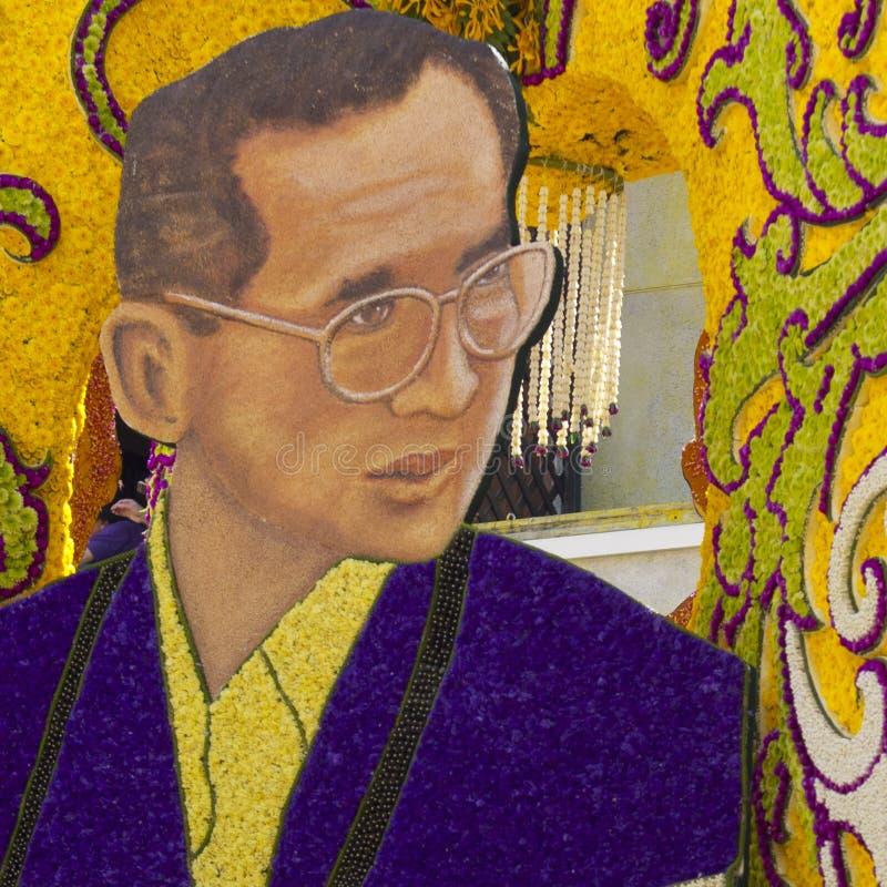 Retrato das flores do rei tailandês Bhumibol imagens de stock