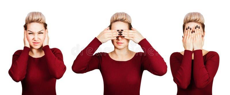Retrato das orelhas próximas e dos olhos da jovem mulher bonita Isolado no fundo branco fotografia de stock royalty free