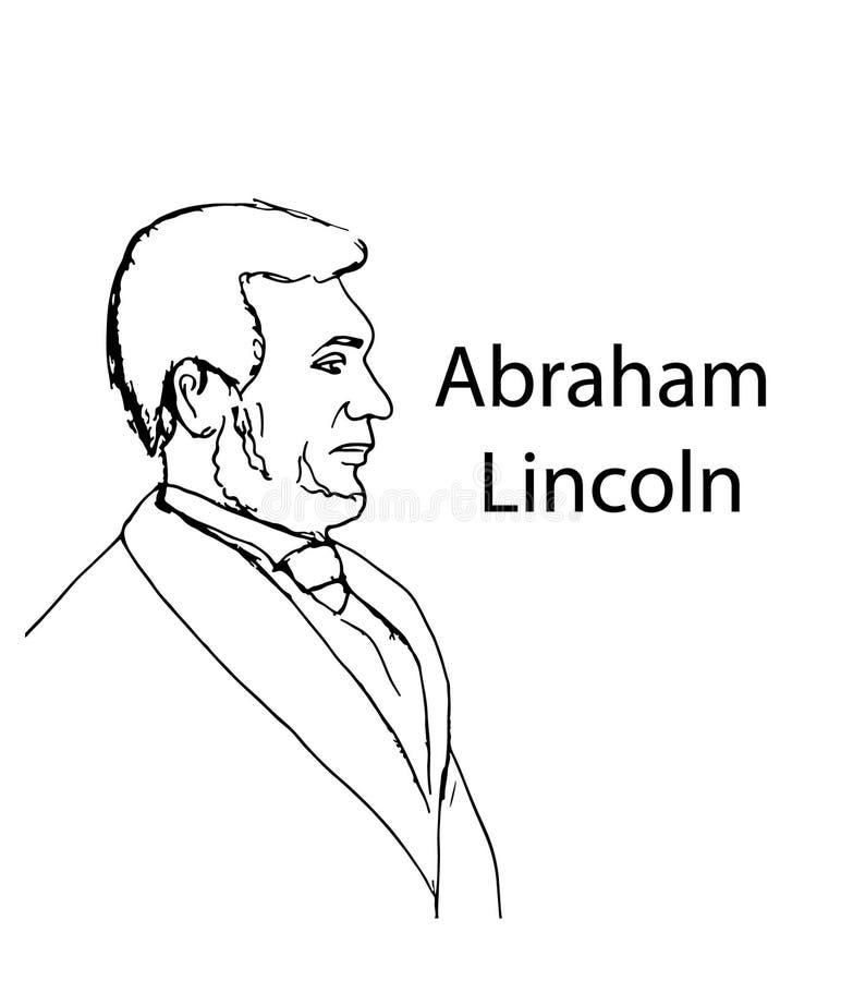 Retrato de Abraham Lincoln com linhas pretas ilustração royalty free