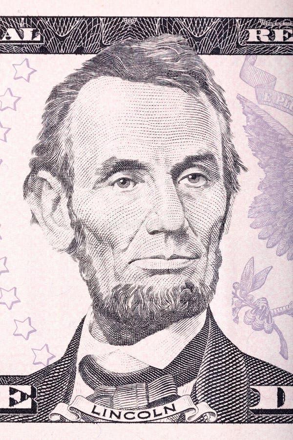Retrato de Abraham Lincoln de cinco dólares de conta ilustração stock