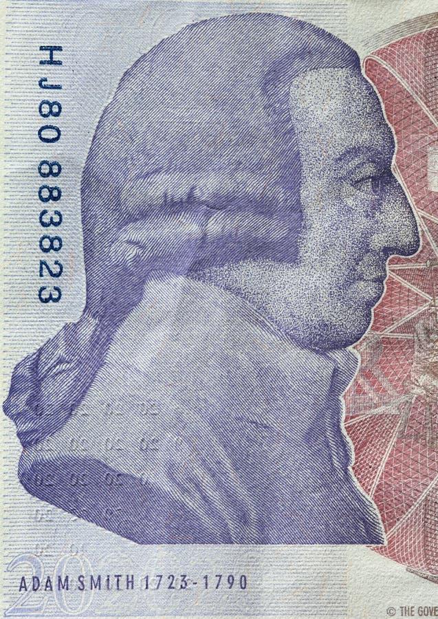 Retrato de Adam Smith en el revés del billete de banco de la libra esterlina 20 foto de archivo libre de regalías