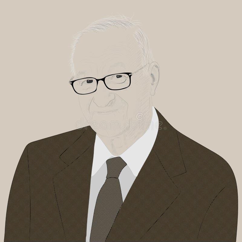 Retrato de Albert Bandura ilustración del vector