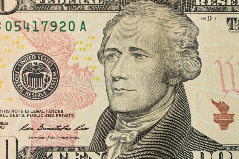 Retrato de Alexander Hamilton en el billete de dólar 10 Cierre para arriba imagenes de archivo