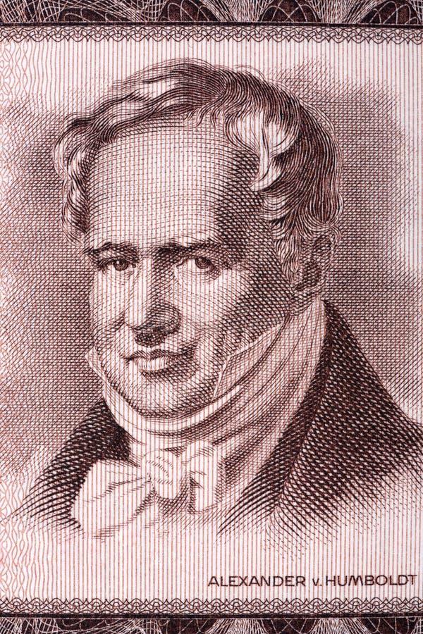 Retrato de Alexander von Humboldt del dinero alemán viejo fotos de archivo libres de regalías