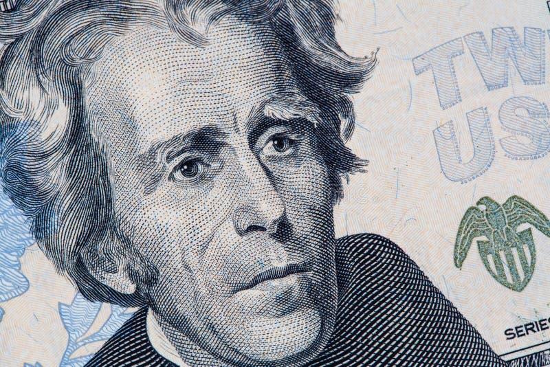 Retrato de Andrew Jackson na nota de dólar de 20 E.U. imagens de stock royalty free