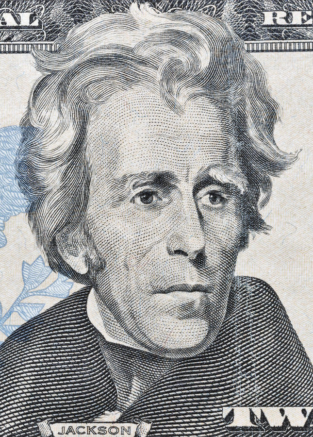 Retrato de Andrew Jackson no macro da cédula do dólar americano vinte fotos de stock royalty free
