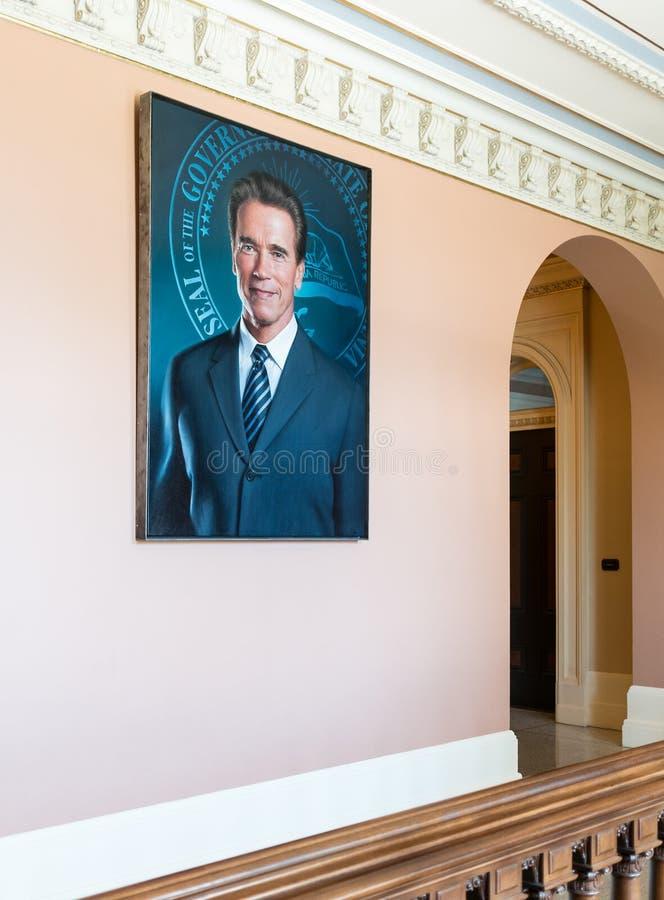 Retrato de Arnold Schwarzenegger, Capitólio do estado de Califórnia imagens de stock royalty free
