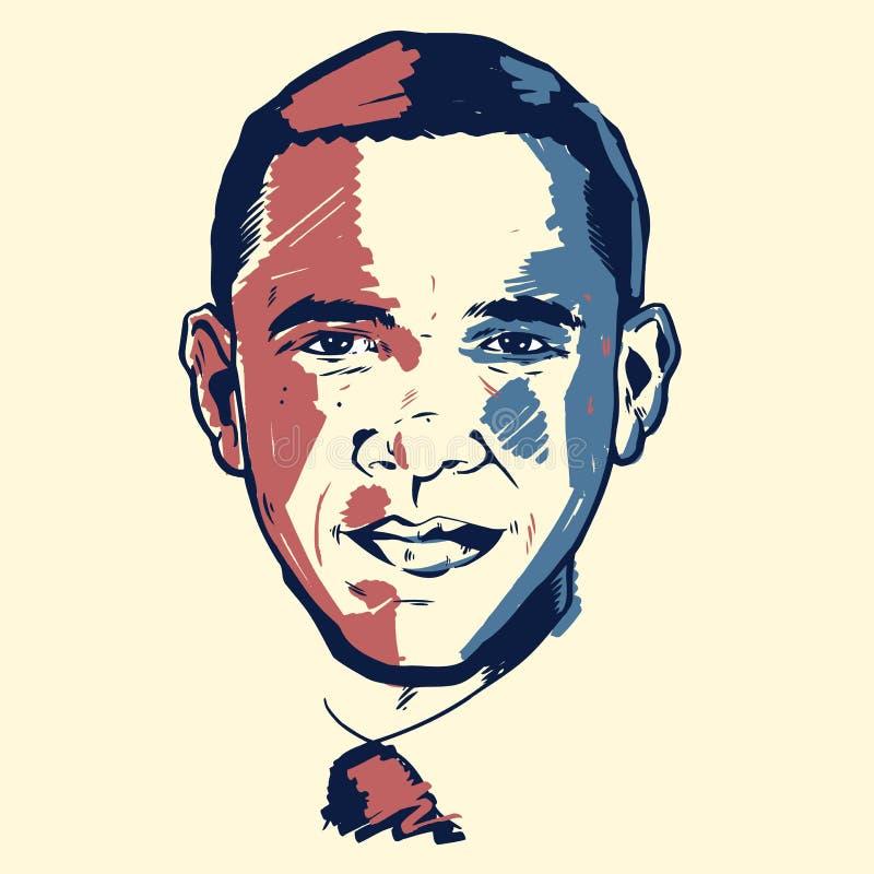 Retrato de Barack Obama ilustração stock