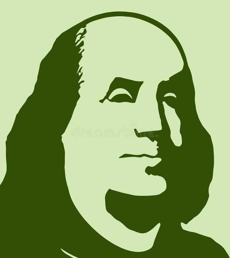 Retrato de Benjamin Franklin em um fundo branco ilustração stock