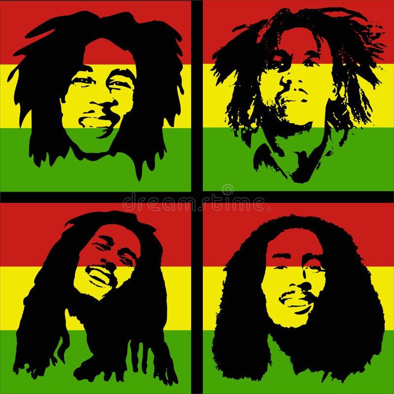Retrato de Bob Marley imagen editorial. Ilustración de guitarrista ...