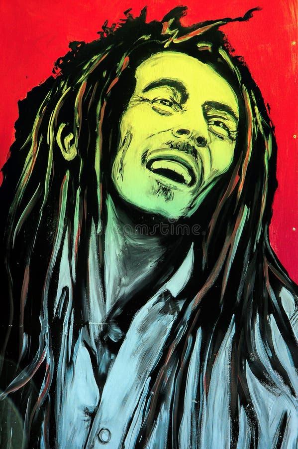 Retrato de Bob Marley dos grafittis foto de stock