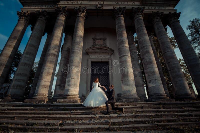 Retrato de boda al aire libre de los recienes casados magníficos El novio hermoso está llevando a cabo la mano de la novia encant fotografía de archivo libre de regalías