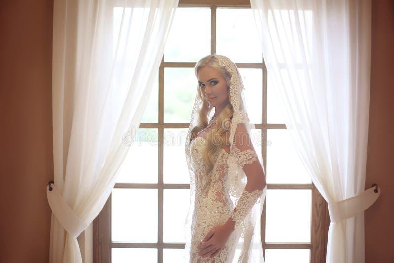 Retrato de boda elegante de la novia Velo blanco del cordón de la moda Beautif fotografía de archivo libre de regalías