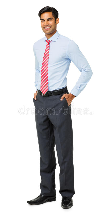 Retrato de bolsos seguros de With Hands In do homem de negócios fotografia de stock royalty free