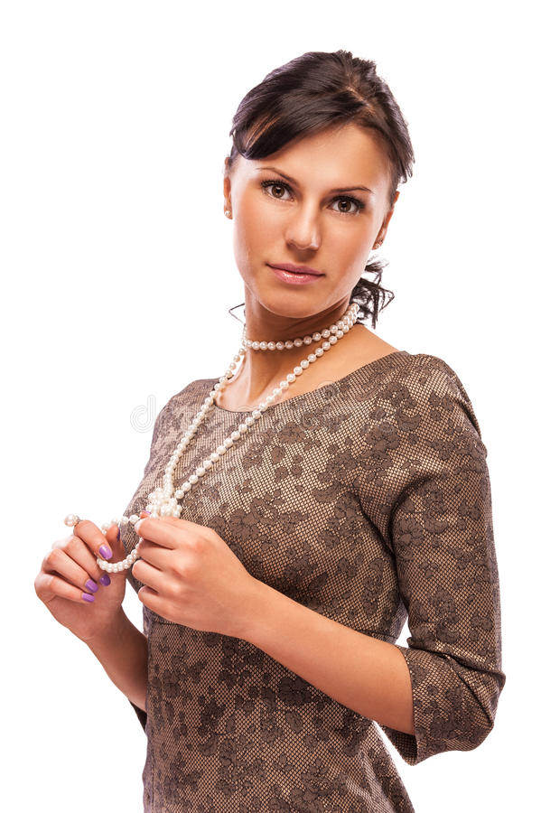 Retrato de brunette charming fotografia de stock royalty free